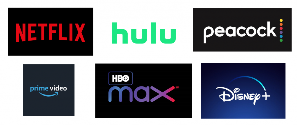 Streaming services logos including Netflix, Hulu, Peacock, Amazon Prime, HBO Max, Disney+