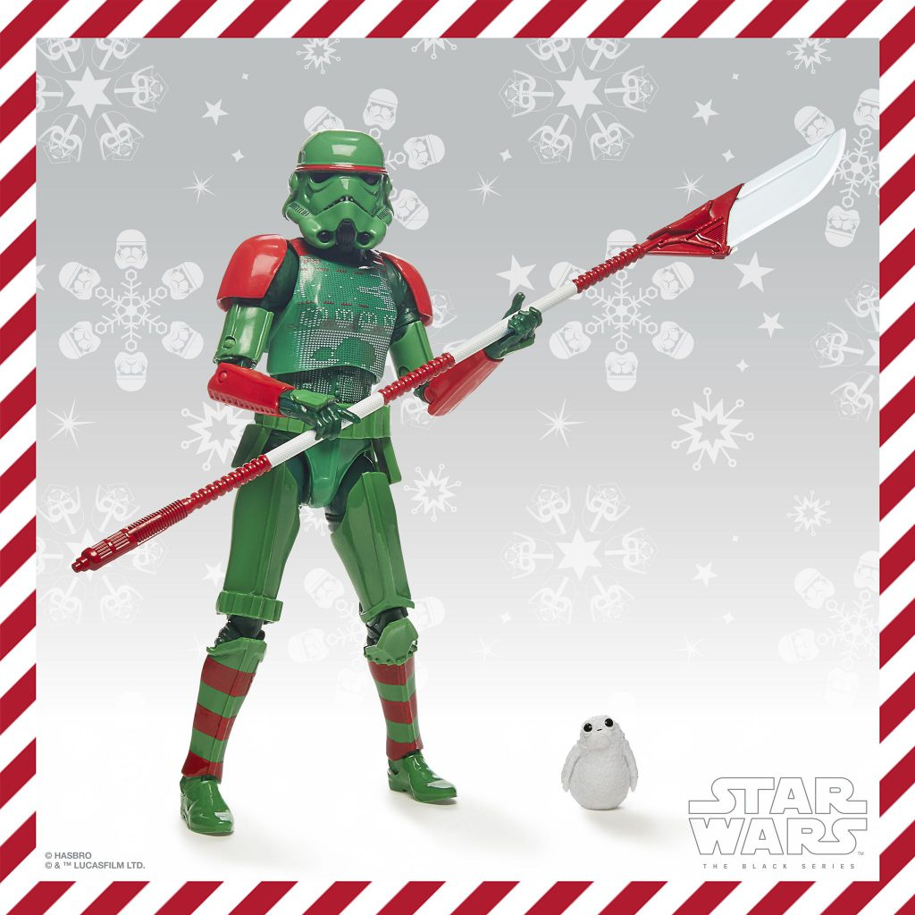 Holiday Stormtrooper posing with halberd.