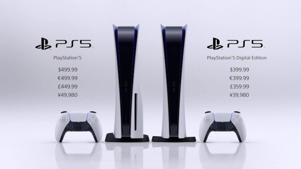 PS5 prices for both versions.