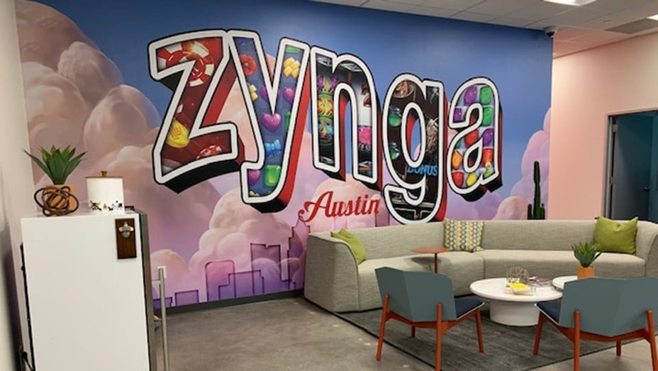 Zynga's Austin studio celebrating its new opening.