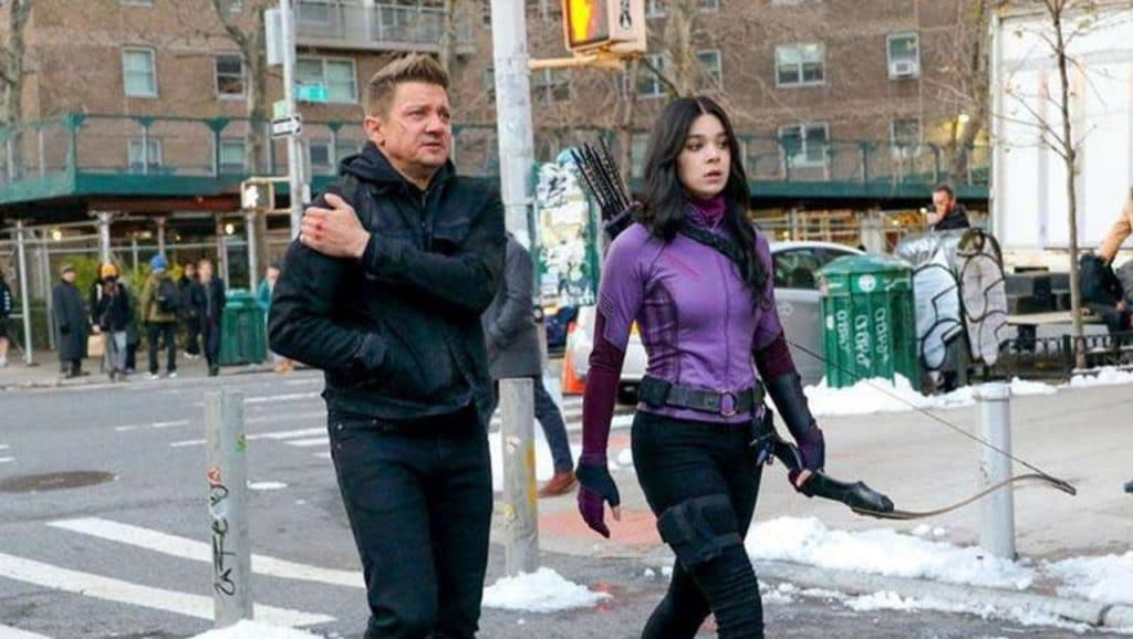 Jeremy Renner and Hailee Steinfeld filming Marvel's Hawkeye series